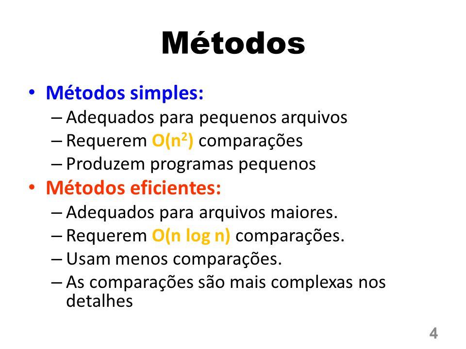 Métodos Métodos simples: Métodos eficientes: