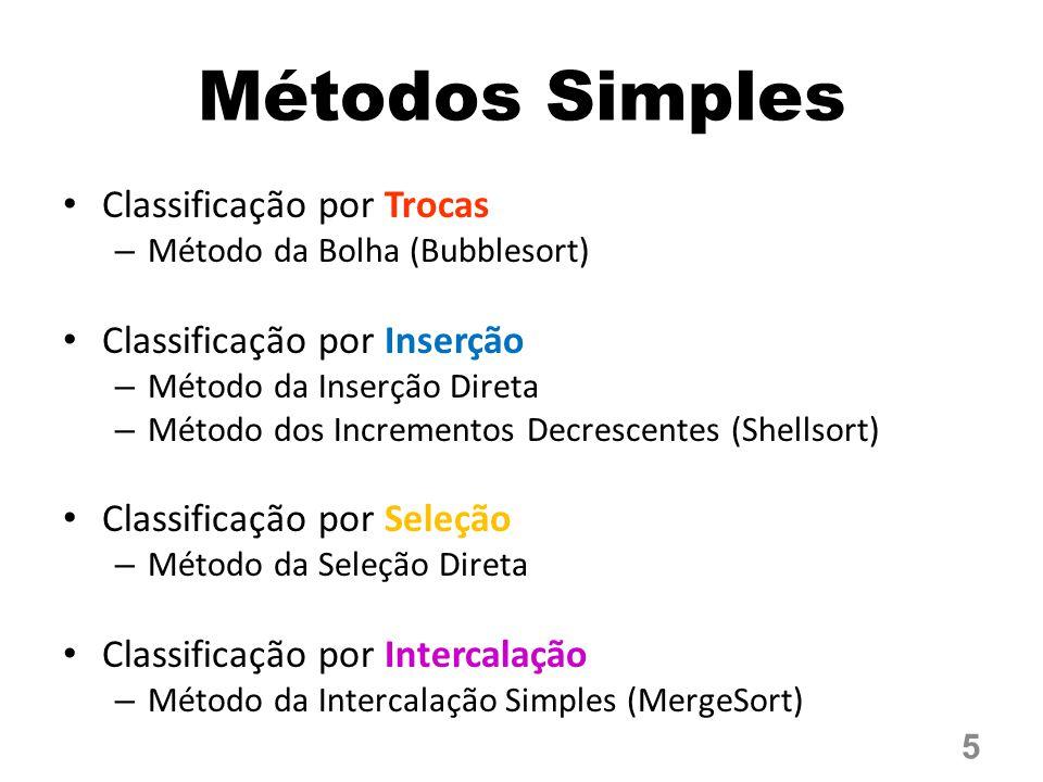 Métodos Simples Classificação por Trocas Classificação por Inserção