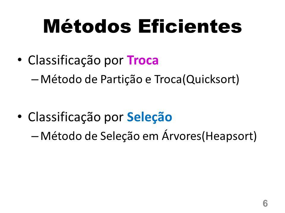 Métodos Eficientes Classificação por Troca Classificação por Seleção