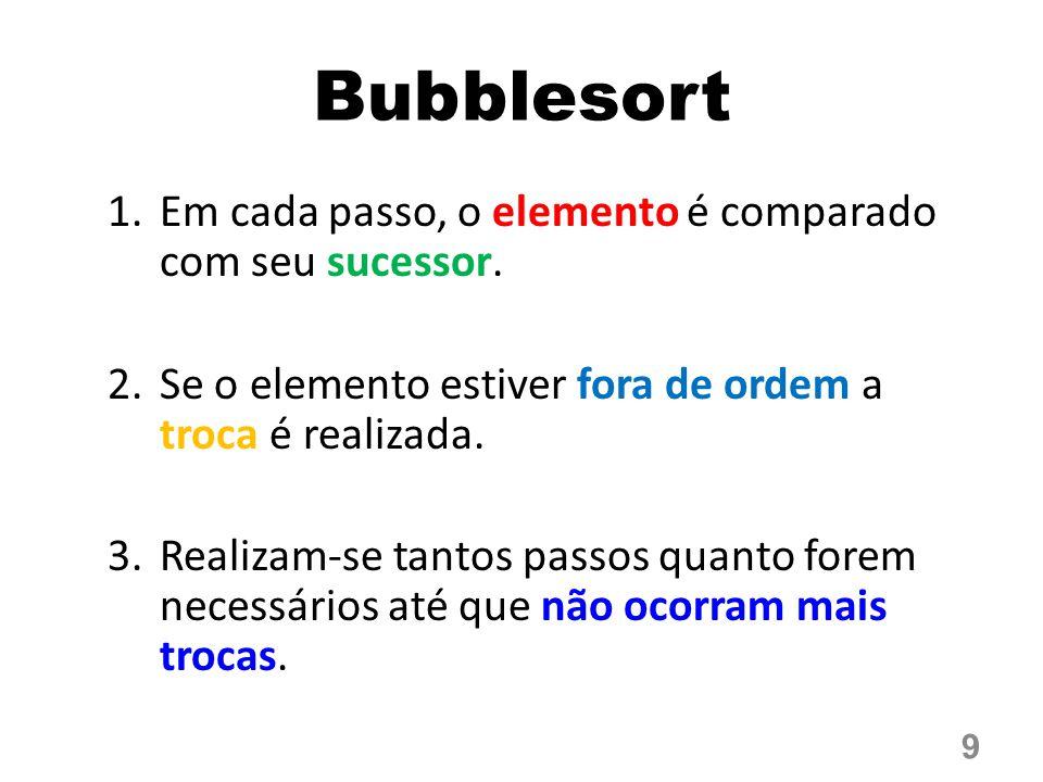 Bubblesort Em cada passo, o elemento é comparado com seu sucessor.