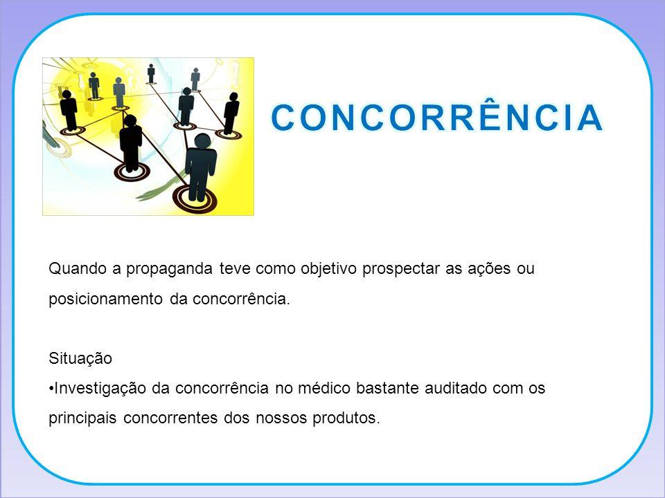 CONCORRÊNCIA Quando a propaganda teve como objetivo prospectar as ações ou posicionamento da concorrência.