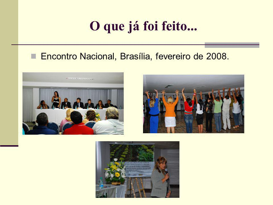 O que já foi feito... Encontro Nacional, Brasília, fevereiro de 2008.