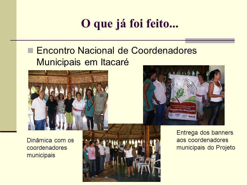 O que já foi feito... Encontro Nacional de Coordenadores Municipais em Itacaré. Entrega dos banners aos coordenadores municipais do Projeto.