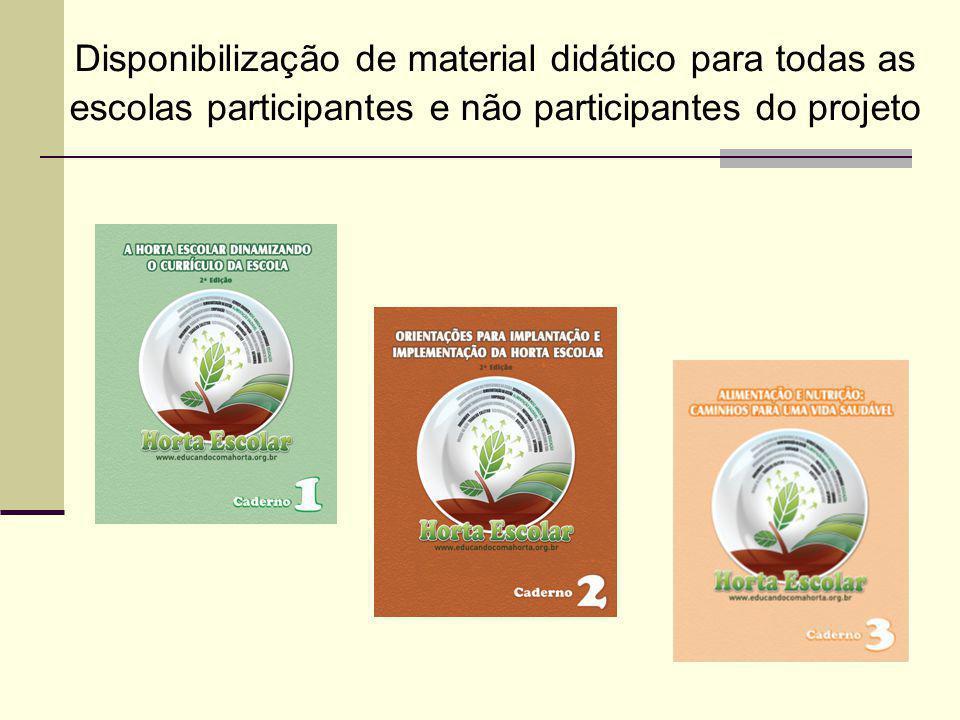 Disponibilização de material didático para todas as escolas participantes e não participantes do projeto