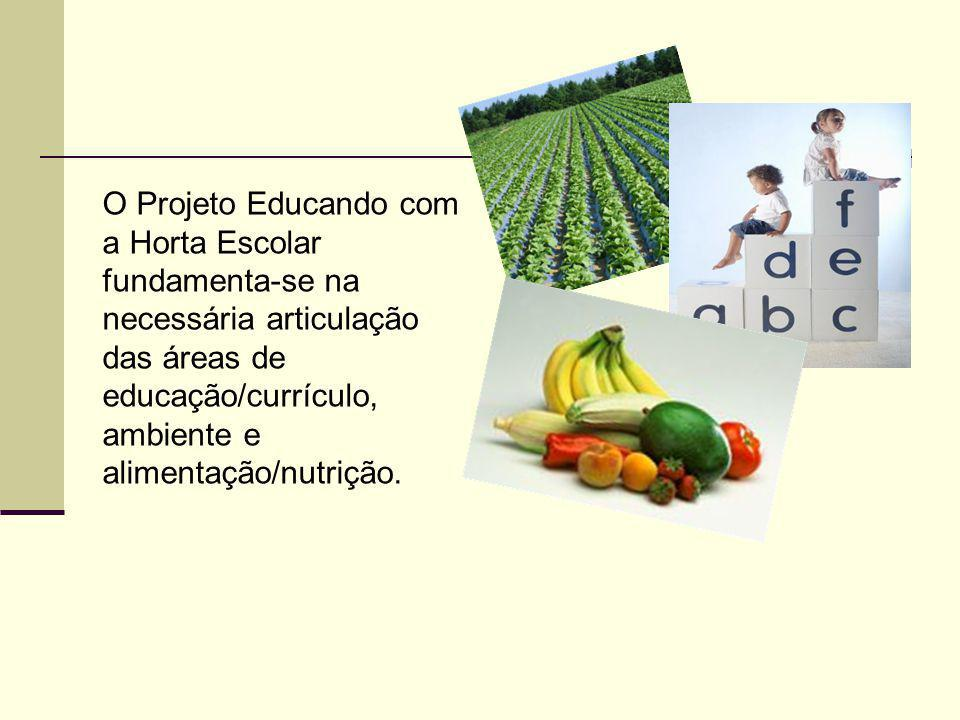 O Projeto Educando com a Horta Escolar fundamenta-se na necessária articulação das áreas de educação/currículo, ambiente e alimentação/nutrição.