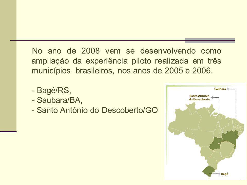 No ano de 2008 vem se desenvolvendo como ampliação da experiência piloto realizada em três municípios brasileiros, nos anos de 2005 e 2006.