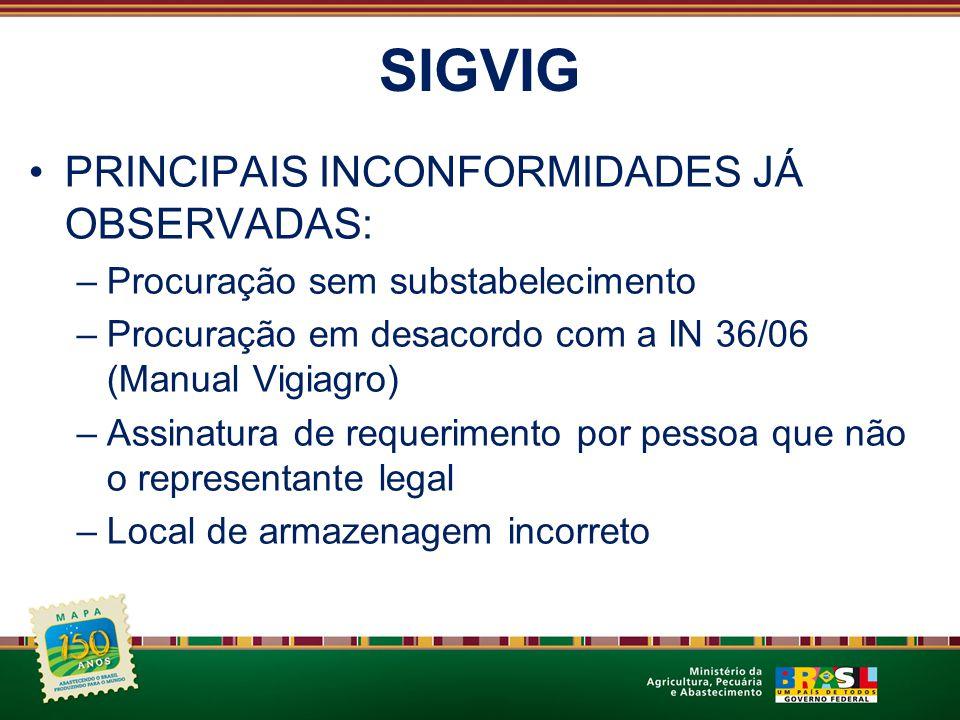 SIGVIG PRINCIPAIS INCONFORMIDADES JÁ OBSERVADAS: