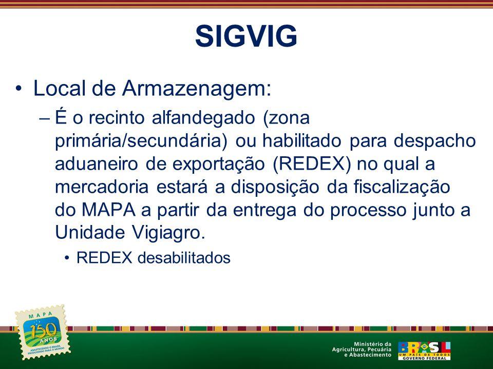 SIGVIG Local de Armazenagem: