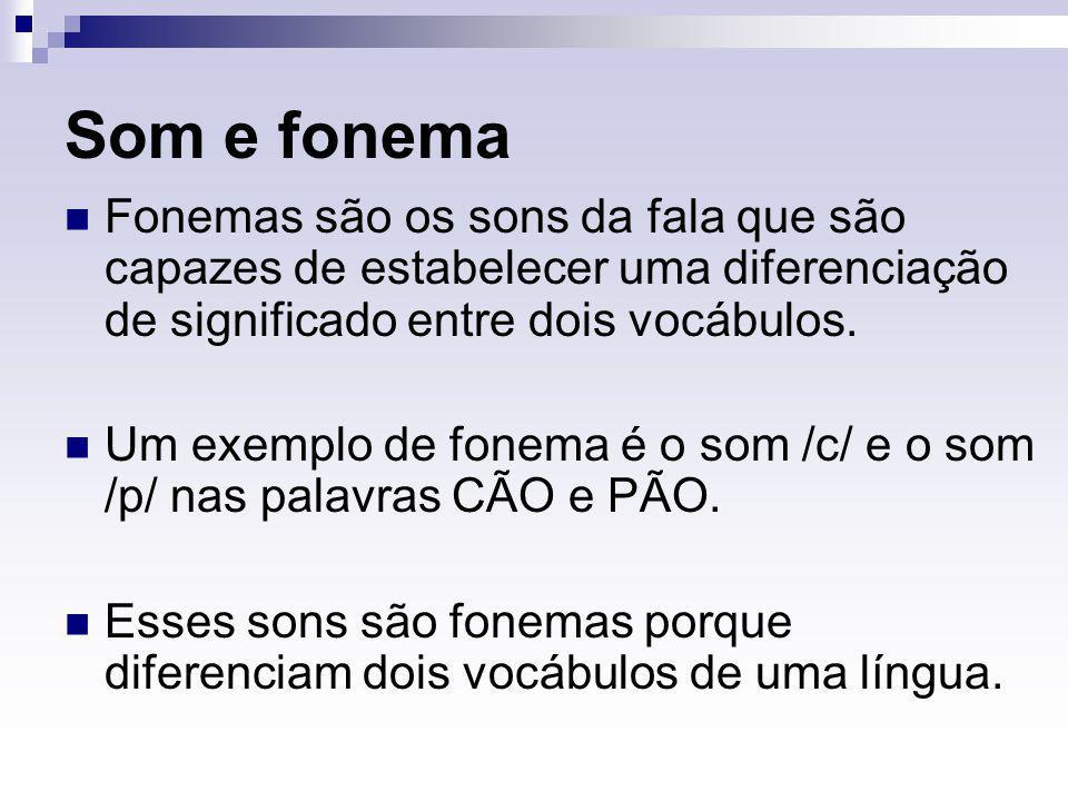Som e fonema Fonemas são os sons da fala que são capazes de estabelecer uma diferenciação de significado entre dois vocábulos.