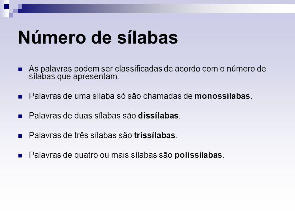 Número de sílabas As palavras podem ser classificadas de acordo com o número de sílabas que apresentam.
