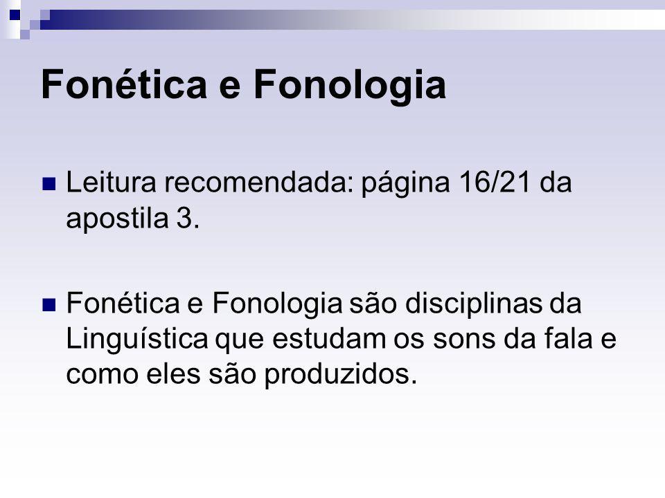 Fonética e Fonologia Leitura recomendada: página 16/21 da apostila 3.