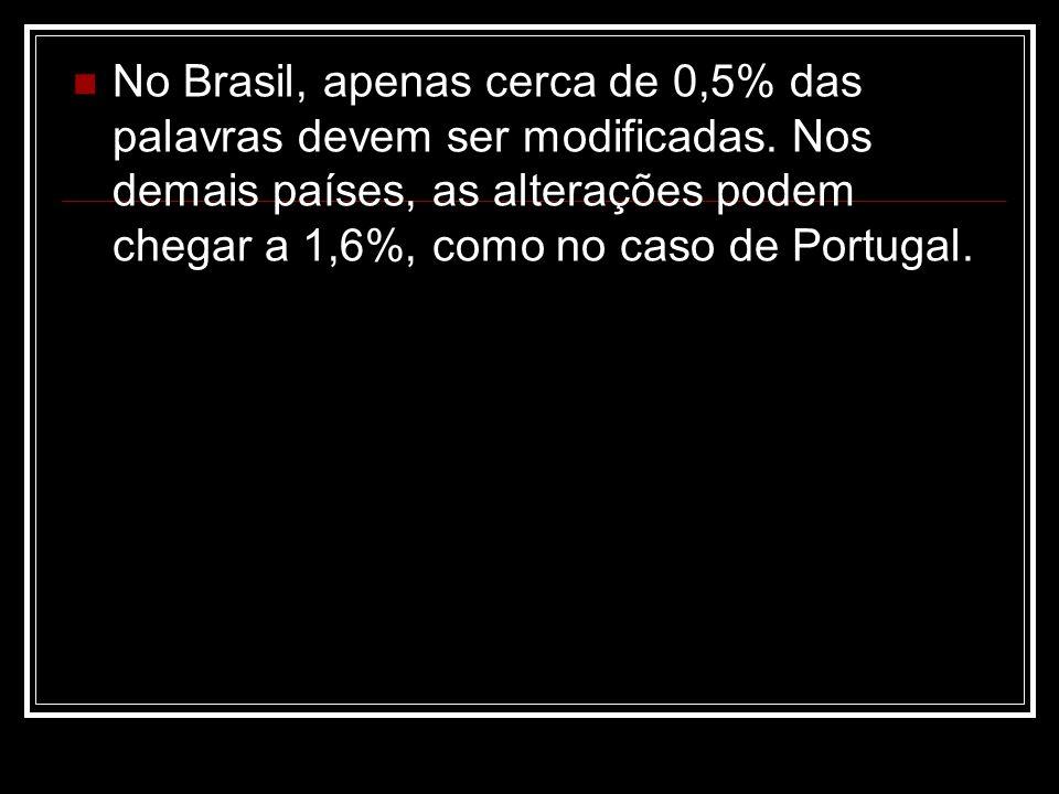 No Brasil, apenas cerca de 0,5% das palavras devem ser modificadas