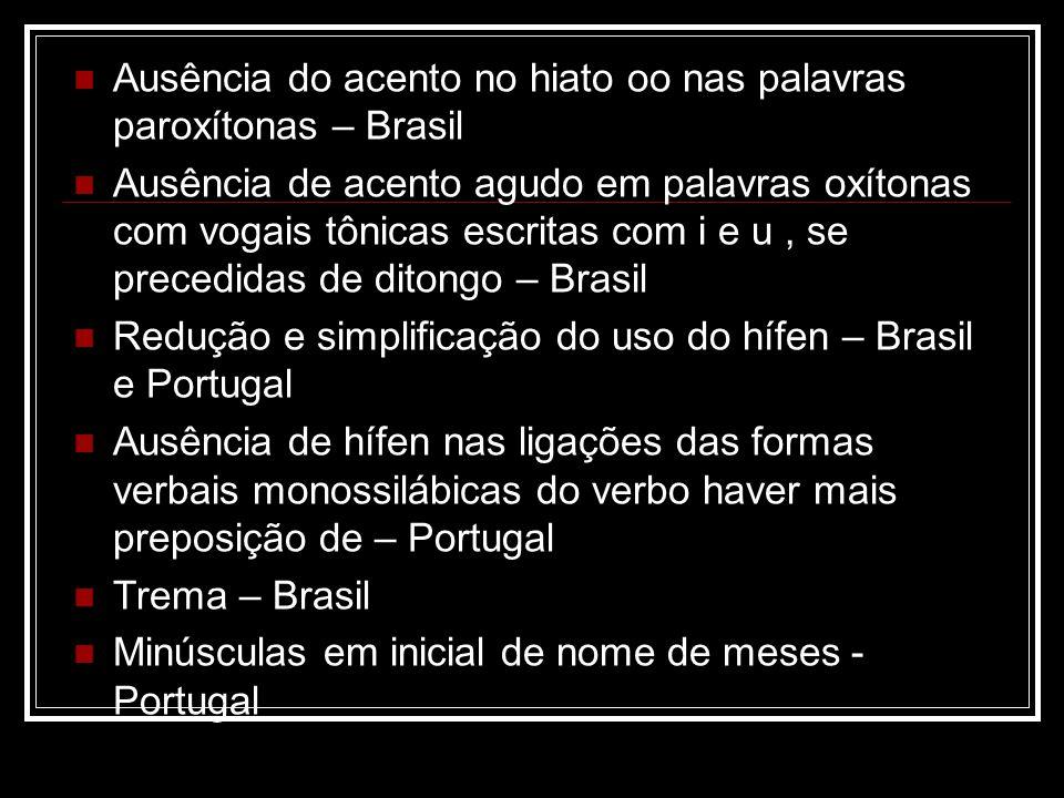 Ausência do acento no hiato oo nas palavras paroxítonas – Brasil