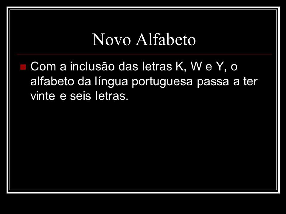 Novo Alfabeto Com a inclusão das letras K, W e Y, o alfabeto da língua portuguesa passa a ter vinte e seis letras.