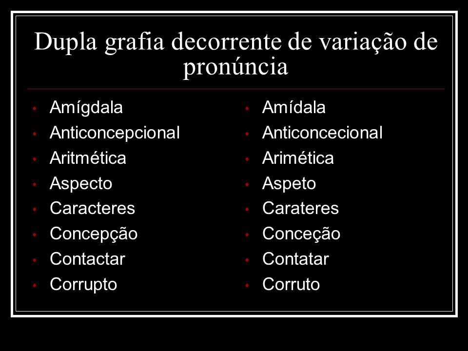 Dupla grafia decorrente de variação de pronúncia