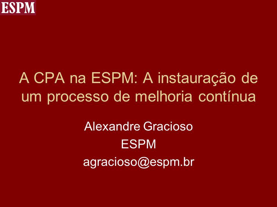 A CPA na ESPM: A instauração de um processo de melhoria contínua