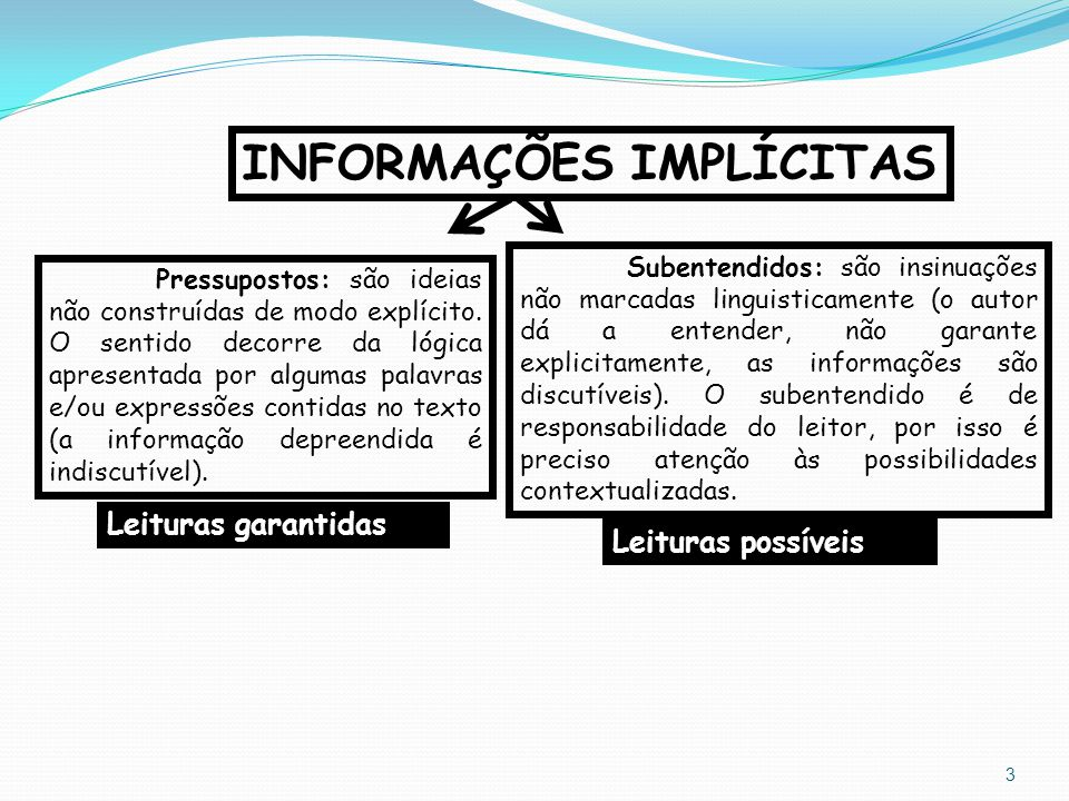 INFORMAÇÕES IMPLÍCITAS