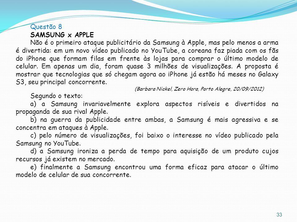 Questão 8 SAMSUNG x APPLE