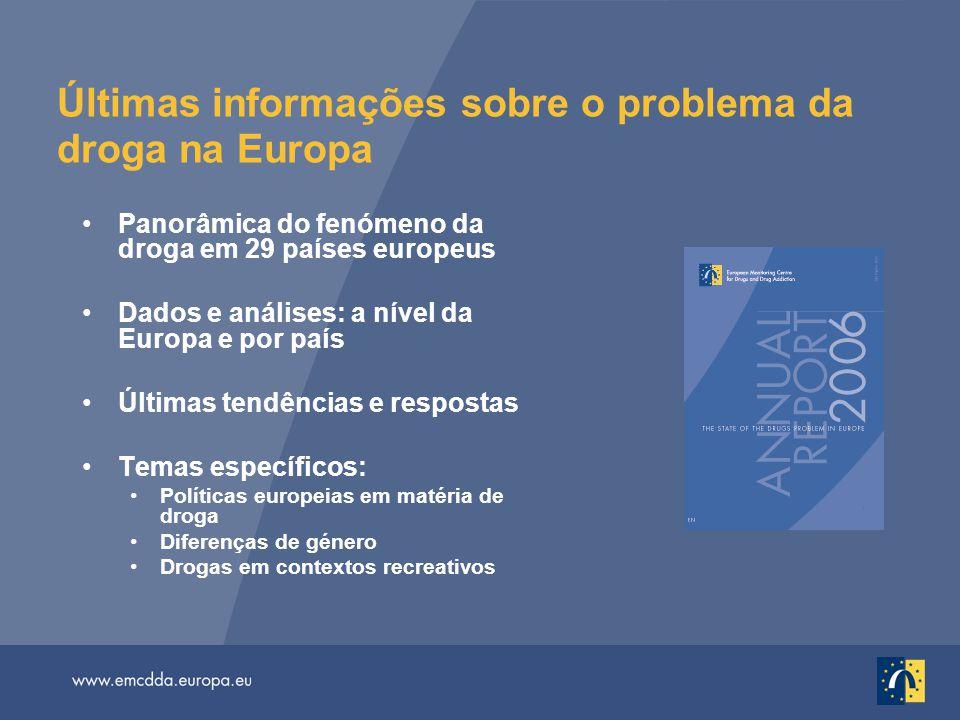 Últimas informações sobre o problema da droga na Europa
