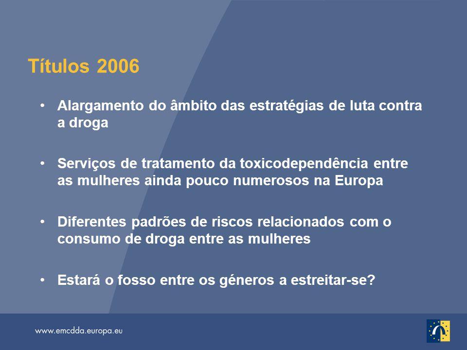 Títulos 2006 Alargamento do âmbito das estratégias de luta contra a droga.