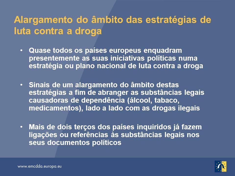 Alargamento do âmbito das estratégias de luta contra a droga