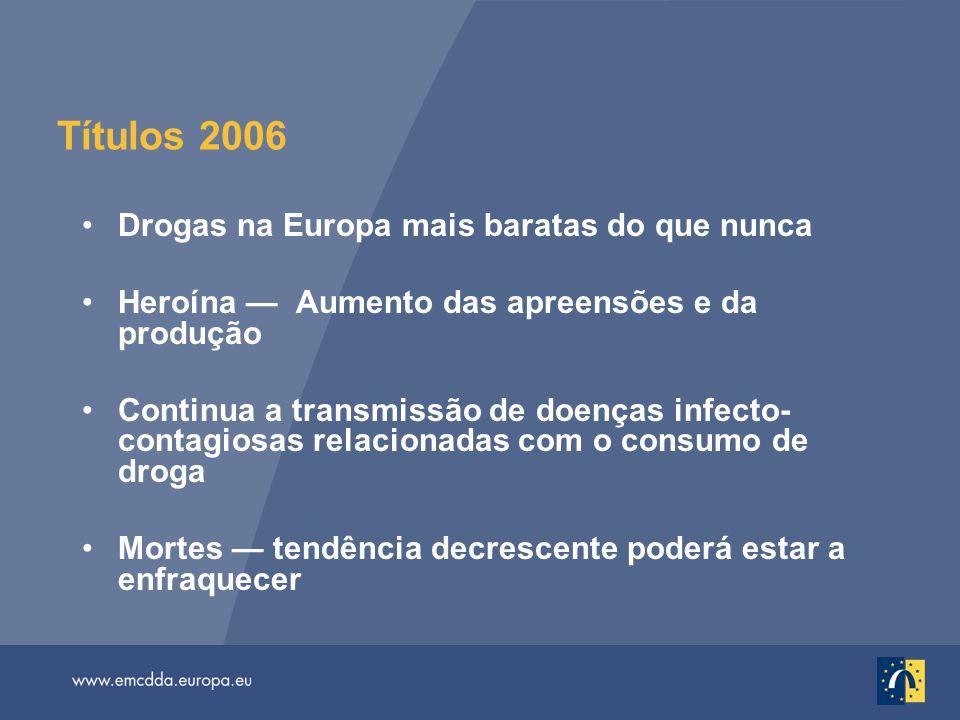 Títulos 2006 Drogas na Europa mais baratas do que nunca