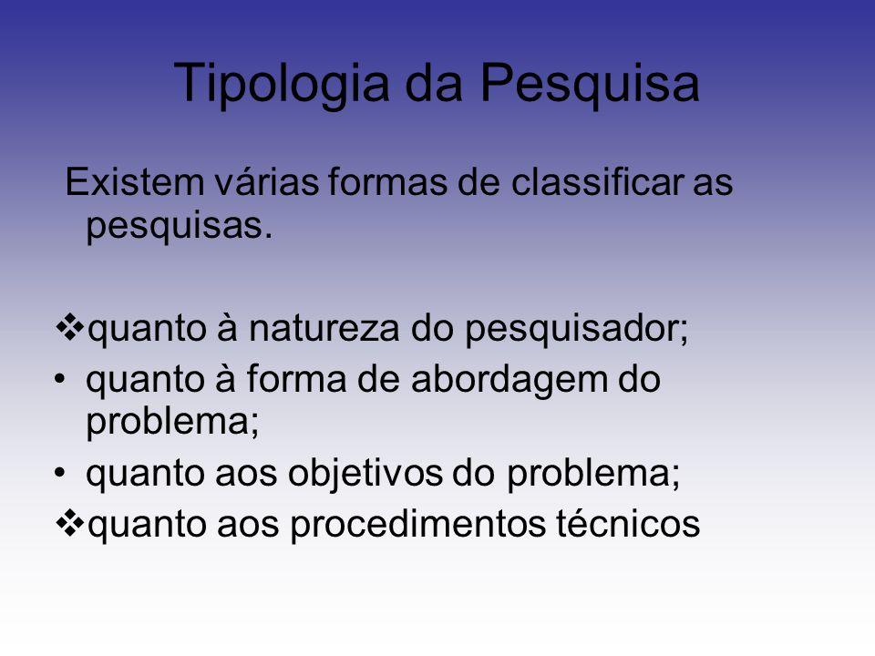 Tipologia da Pesquisa Existem várias formas de classificar as pesquisas. quanto à natureza do pesquisador;