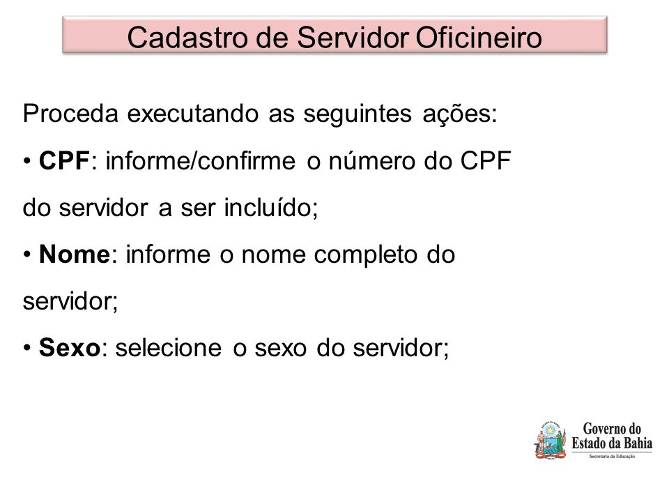Cadastro de Servidor Oficineiro