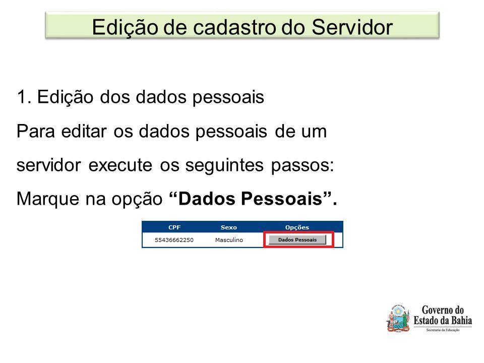 Edição de cadastro do Servidor
