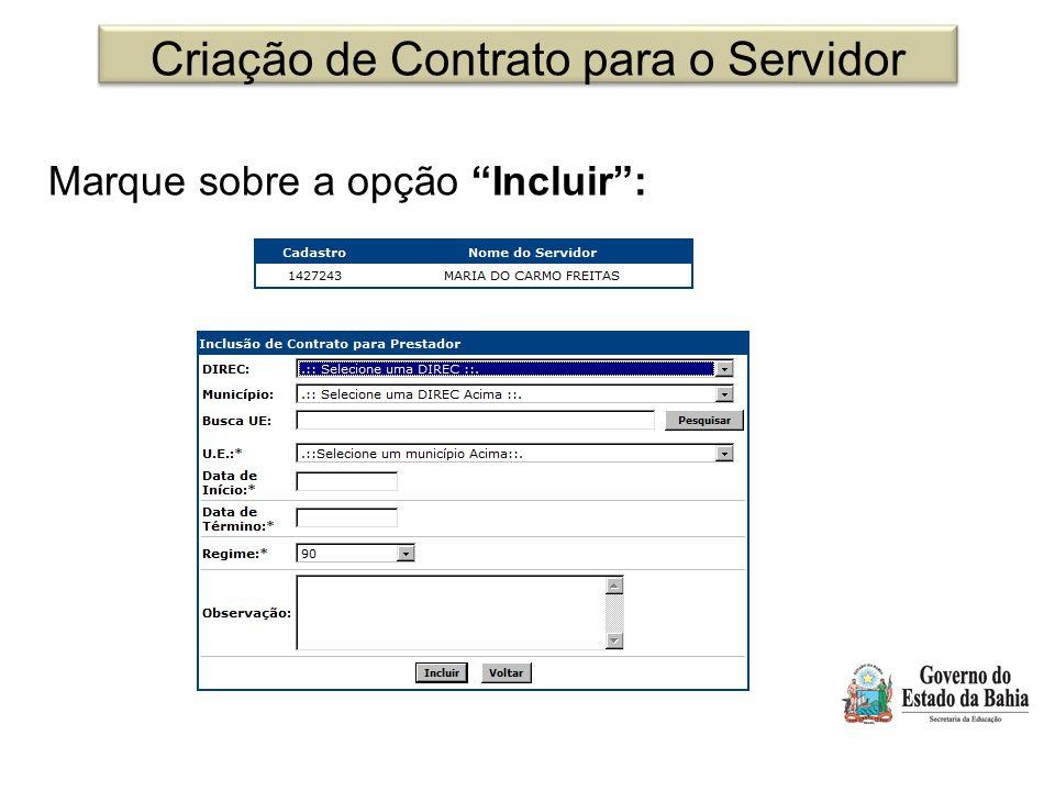 Criação de Contrato para o Servidor