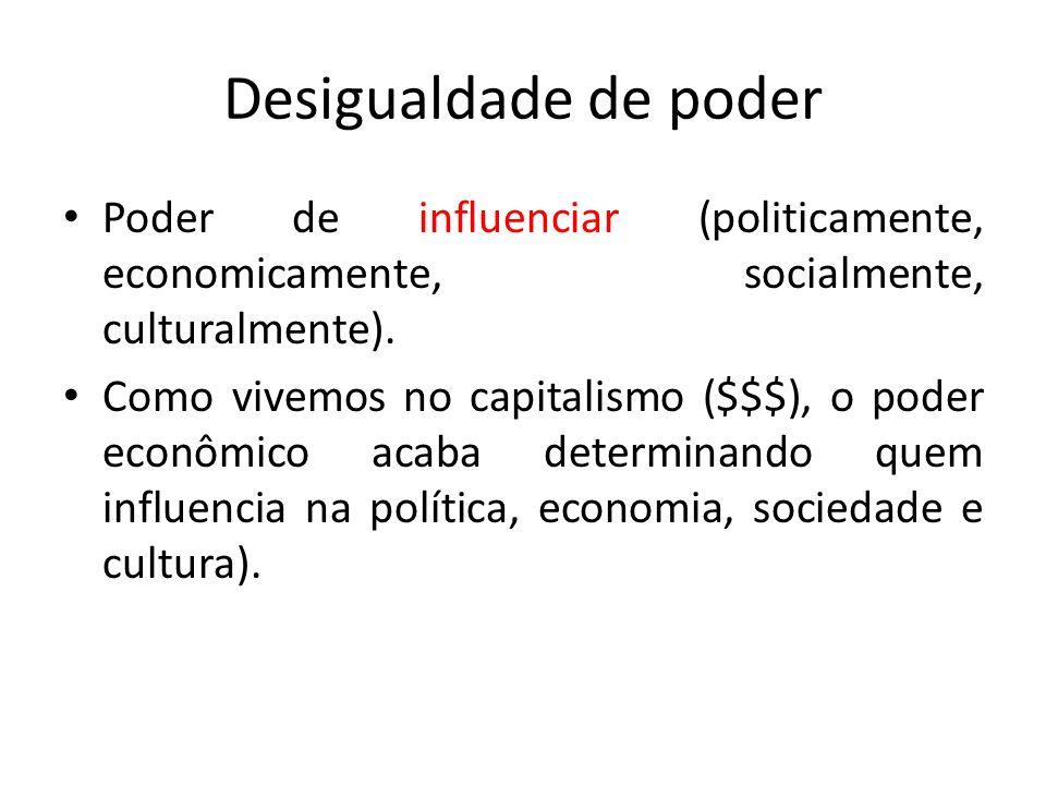 Desigualdade de poder Poder de influenciar (politicamente, economicamente, socialmente, culturalmente).