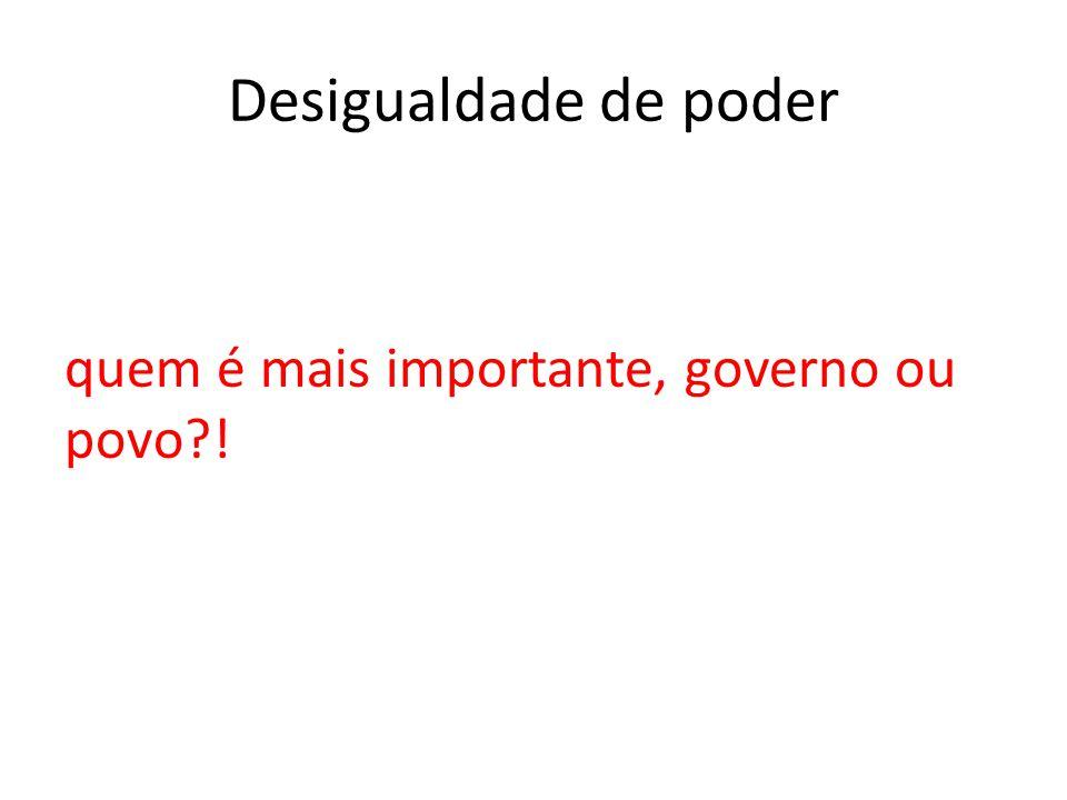 Desigualdade de poder quem é mais importante, governo ou povo !
