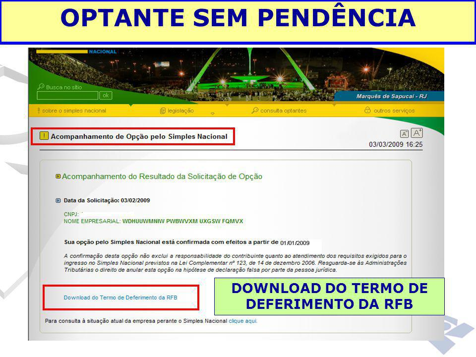 DOWNLOAD DO TERMO DE DEFERIMENTO DA RFB