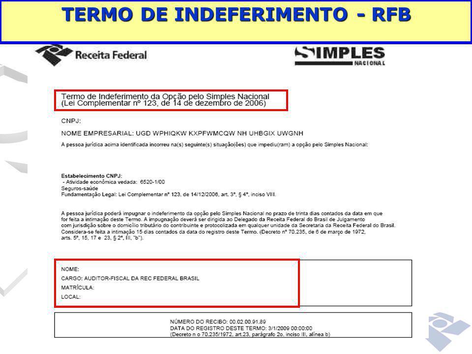 TERMO DE INDEFERIMENTO - RFB