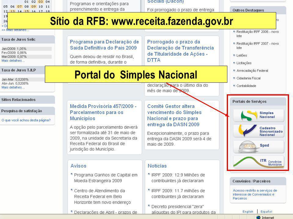 Sítio da RFB: www.receita.fazenda.gov.br Portal do Simples Nacional