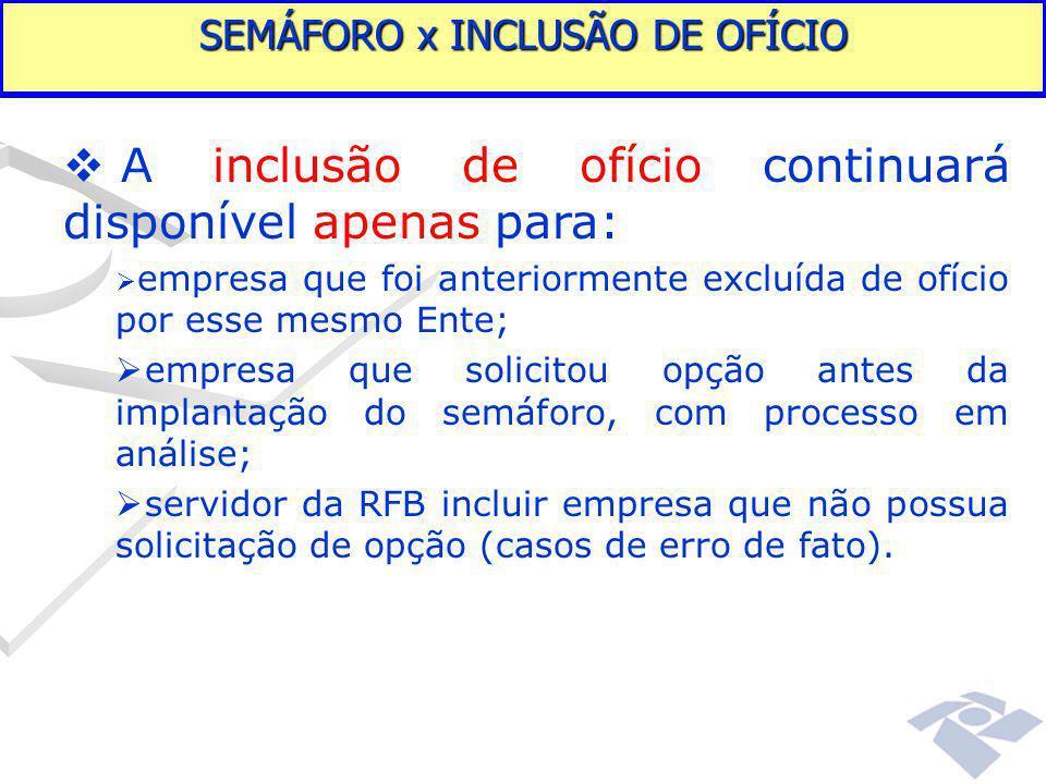 SEMÁFORO x INCLUSÃO DE OFÍCIO