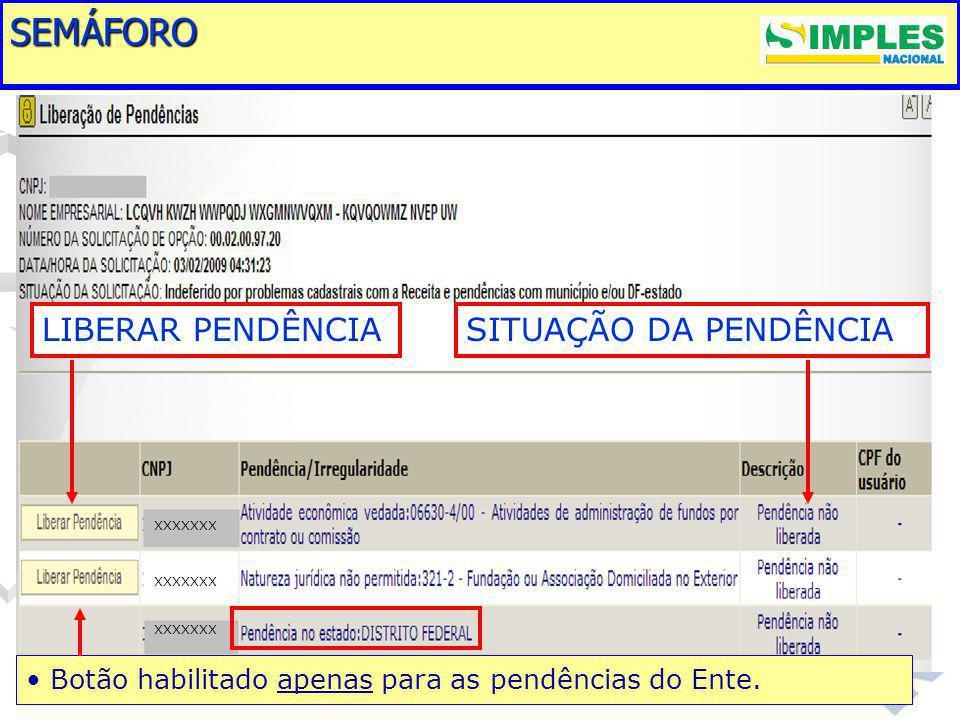 SEMÁFORO LIBERAR PENDÊNCIA SITUAÇÃO DA PENDÊNCIA
