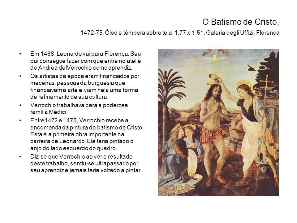 O Batismo de Cristo, 1472-75. Óleo e têmpera sobre tela. 1,77 x 1,51
