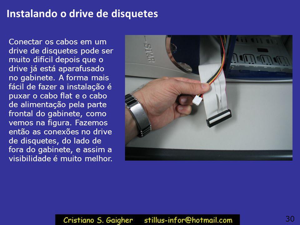 Instalando o drive de disquetes