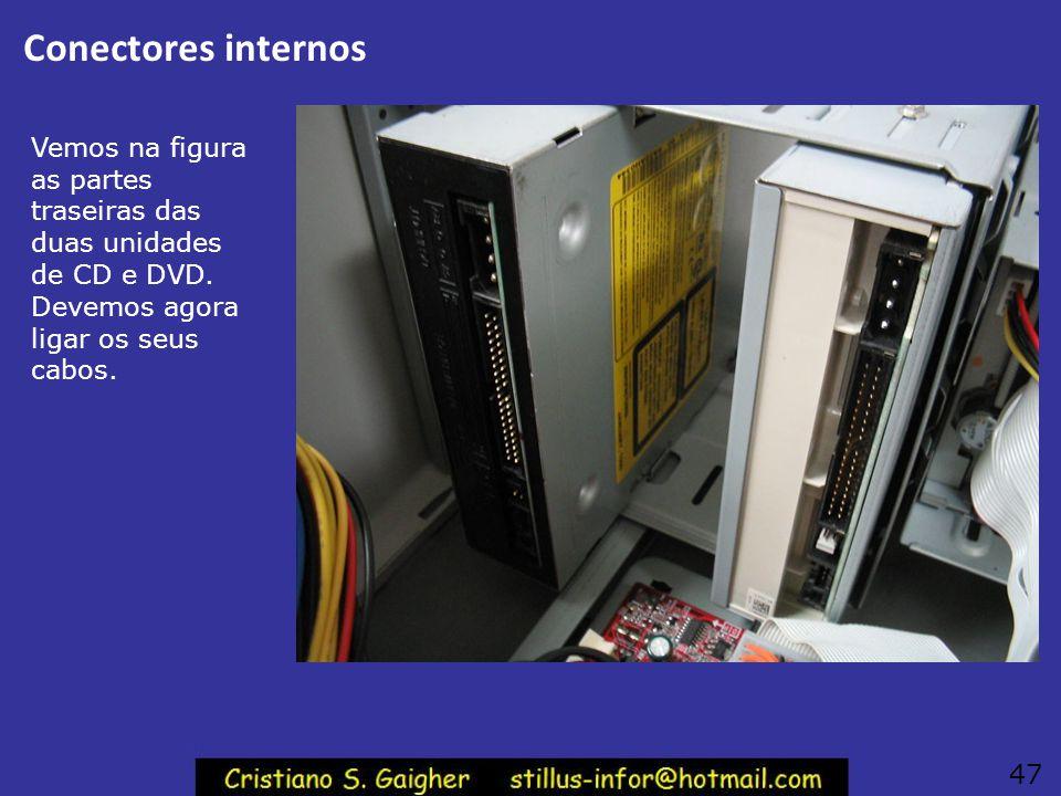 Conectores internos Vemos na figura as partes traseiras das duas unidades de CD e DVD. Devemos agora ligar os seus cabos.