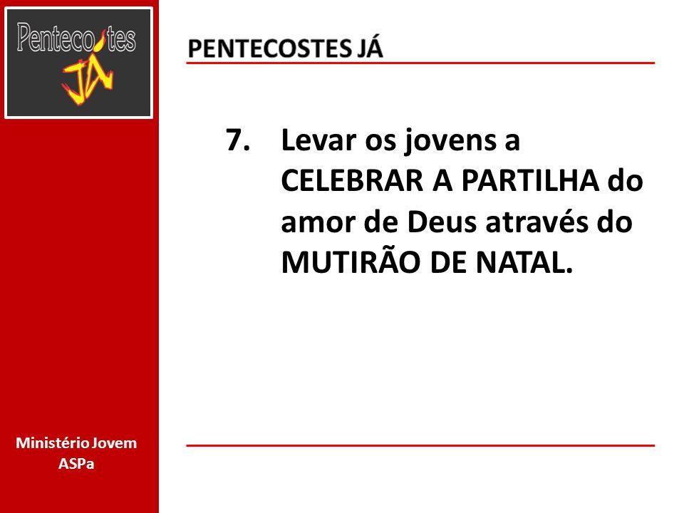 PENTECOSTES JÁ Levar os jovens a CELEBRAR A PARTILHA do amor de Deus através do MUTIRÃO DE NATAL.