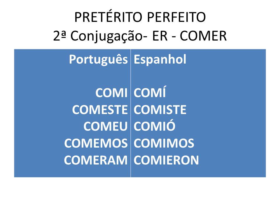 PRETÉRITO PERFEITO 2ª Conjugação- ER - COMER