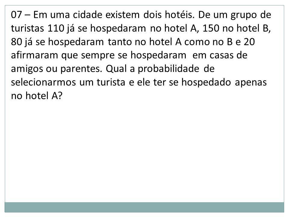 07 – Em uma cidade existem dois hotéis