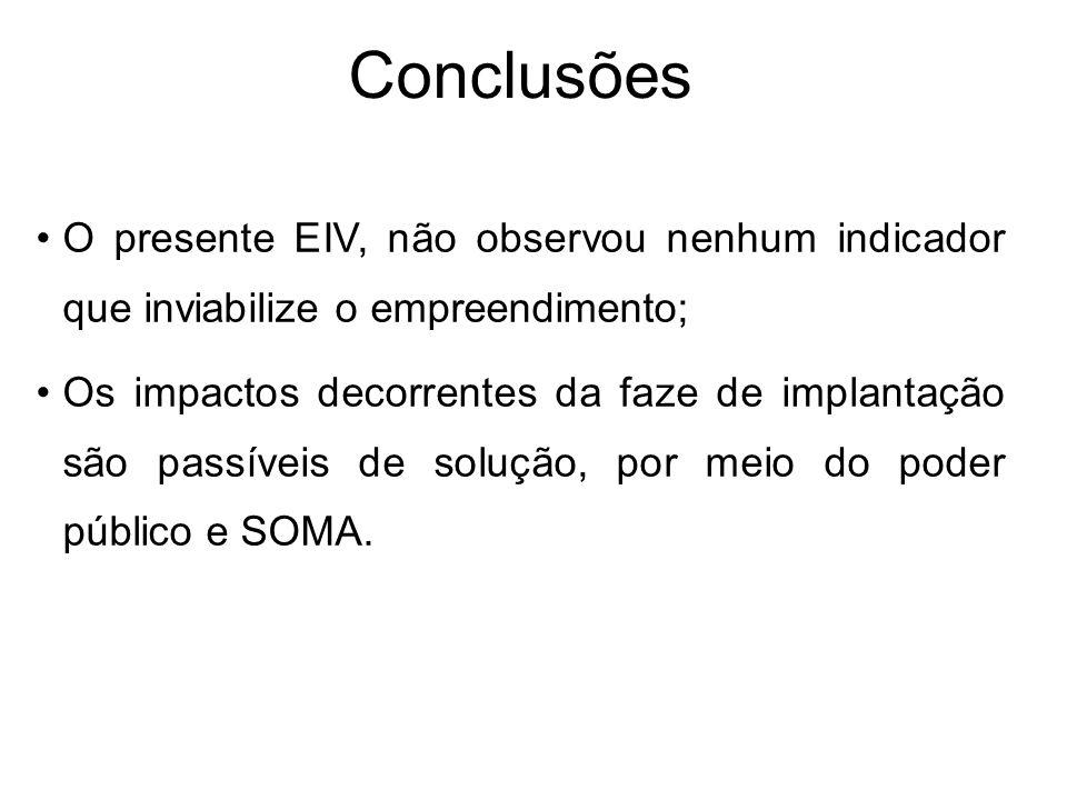 Conclusões O presente EIV, não observou nenhum indicador que inviabilize o empreendimento;