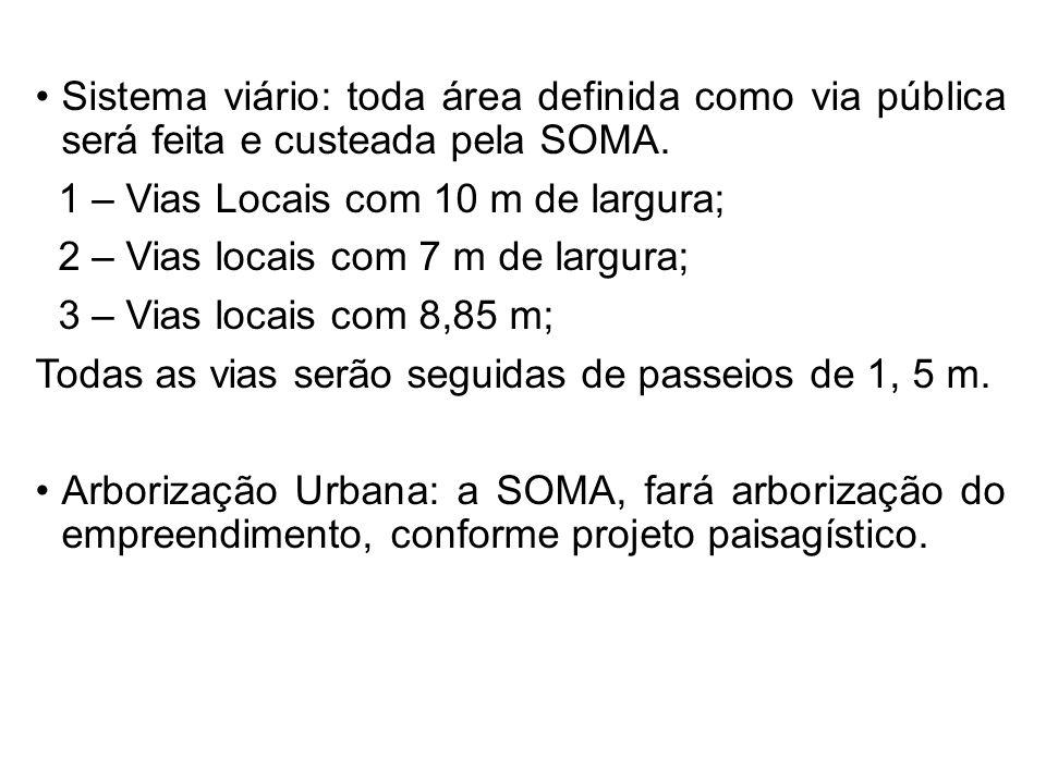 Sistema viário: toda área definida como via pública será feita e custeada pela SOMA.