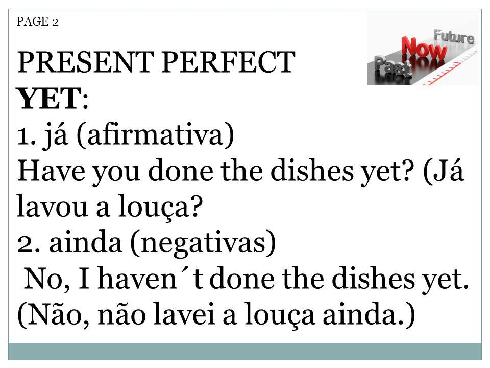 Have you done the dishes yet (Já lavou a louça 2. ainda (negativas)