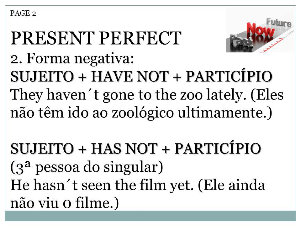PRESENT PERFECT 2. Forma negativa: SUJEITO + HAVE NOT + PARTICÍPIO