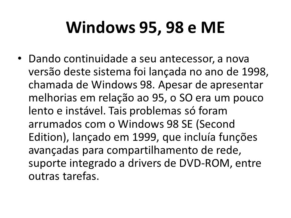 Windows 95, 98 e ME