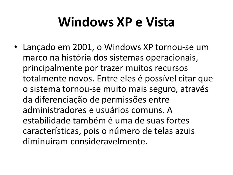 Windows XP e Vista