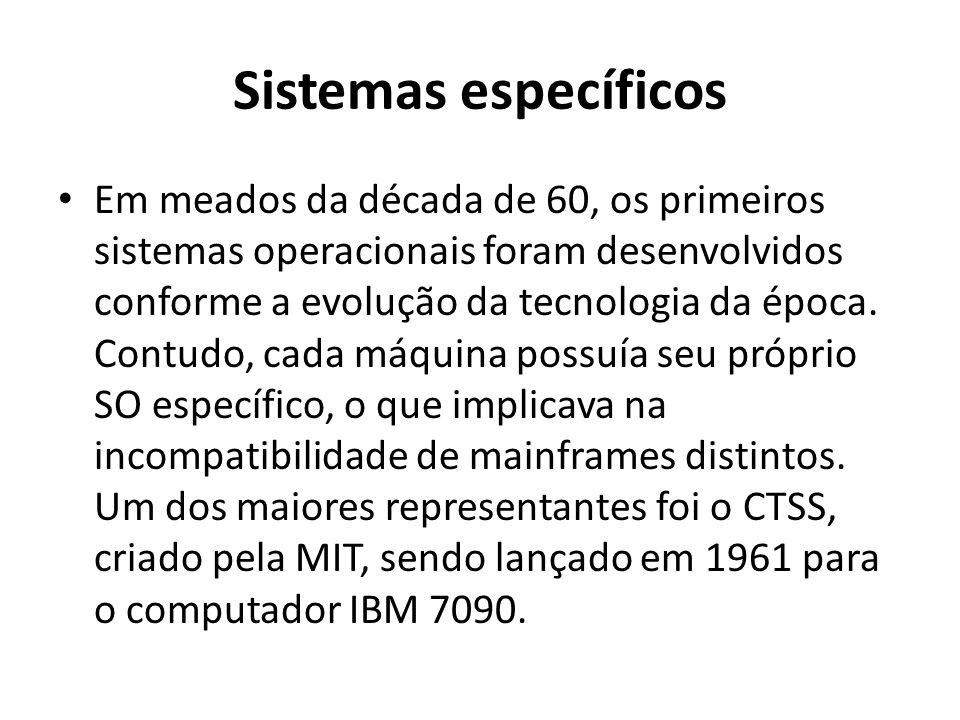 Sistemas específicos